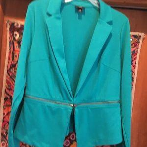 Turquoise knit blazer. Large